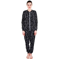 Elio s Shirt Faces In White Outlines On Black Crying Scene Onepiece Jumpsuit (ladies)
