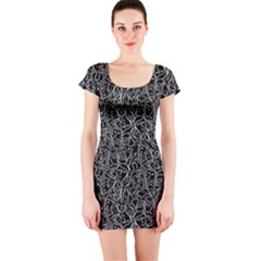 Elio s Shirt Faces In White Outlines On Black Crying Scene Short Sleeve Bodycon Dress