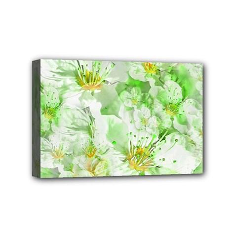 Light Floral Collage  Mini Canvas 6  X 4