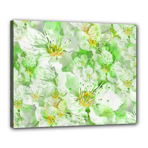 Light Floral Collage  Canvas 20  X 16