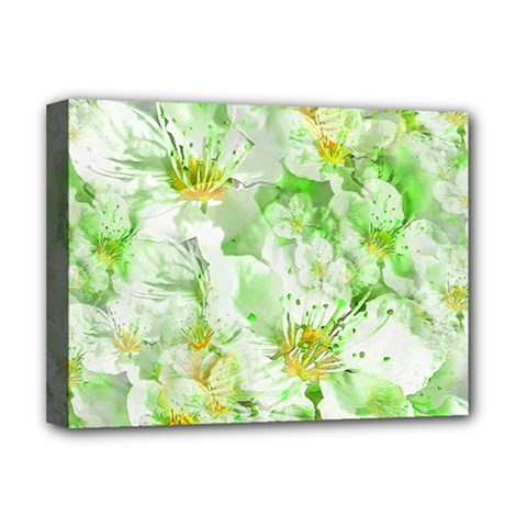 Light Floral Collage  Deluxe Canvas 16  X 12