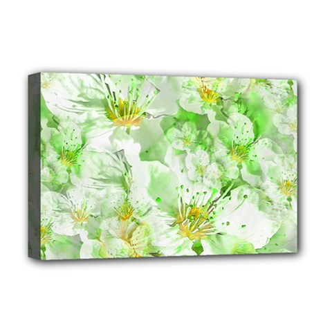 Light Floral Collage  Deluxe Canvas 18  X 12