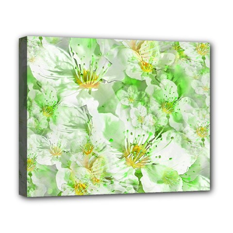 Light Floral Collage  Deluxe Canvas 20  X 16