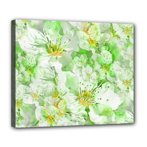 Light Floral Collage  Deluxe Canvas 24  X 20