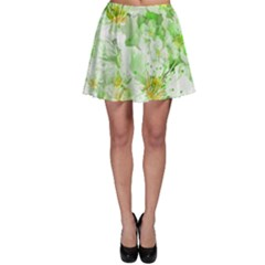 Light Floral Collage  Skater Skirt