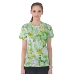 Light Floral Collage  Women s Cotton Tee