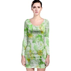 Light Floral Collage  Long Sleeve Bodycon Dress
