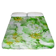 Light Floral Collage  Fitted Sheet (queen Size)