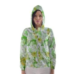 Light Floral Collage  Hooded Wind Breaker (women)