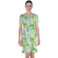 Light Floral Collage  Short Sleeve Nightdress