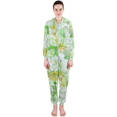Light Floral Collage  Hooded Jumpsuit (ladies)