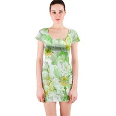 Light Floral Collage  Short Sleeve Bodycon Dress