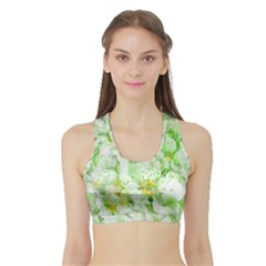 Light Floral Collage  Sports Bra With Border