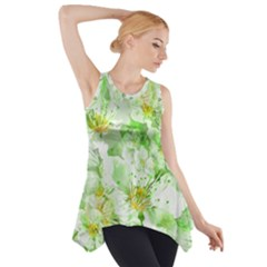 Light Floral Collage  Side Drop Tank Tunic