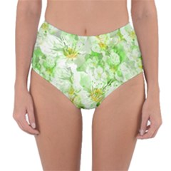 Light Floral Collage  Reversible High Waist Bikini Bottoms