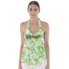 Light Floral Collage  Babydoll Tankini Top