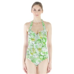 Light Floral Collage  Halter Swimsuit