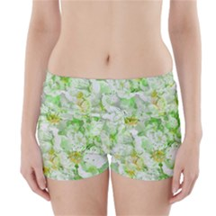 Light Floral Collage  Boyleg Bikini Wrap Bottoms