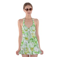 Light Floral Collage  Halter Dress Swimsuit
