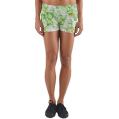 Light Floral Collage  Yoga Shorts