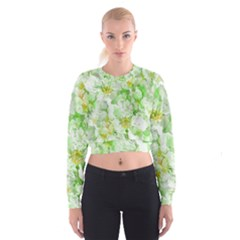 Light Floral Collage  Cropped Sweatshirt