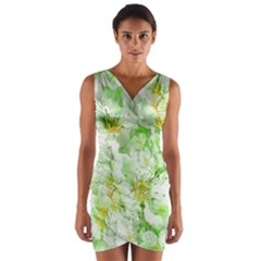 Light Floral Collage  Wrap Front Bodycon Dress