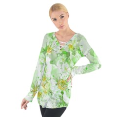 Light Floral Collage  Tie Up Tee