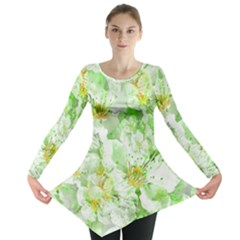 Light Floral Collage  Long Sleeve Tunic