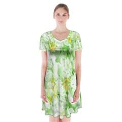 Light Floral Collage  Short Sleeve V Neck Flare Dress