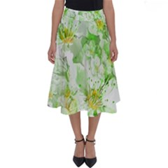 Light Floral Collage  Perfect Length Midi Skirt