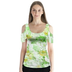 Light Floral Collage  Butterfly Sleeve Cutout Tee