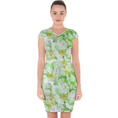 Light Floral Collage  Capsleeve Drawstring Dress