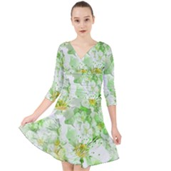 Light Floral Collage  Quarter Sleeve Front Wrap Dress