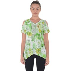 Light Floral Collage  Cut Out Side Drop Tee
