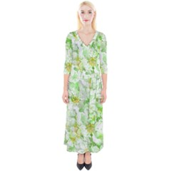 Light Floral Collage  Quarter Sleeve Wrap Maxi Dress