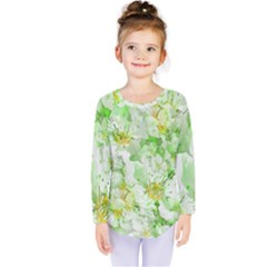 Light Floral Collage  Kids  Long Sleeve Tee