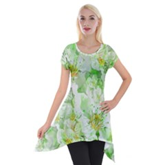 Light Floral Collage  Short Sleeve Side Drop Tunic