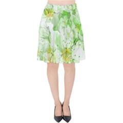 Light Floral Collage  Velvet High Waist Skirt