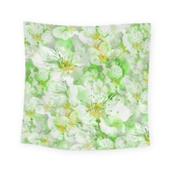 Light Floral Collage  Square Tapestry (small)