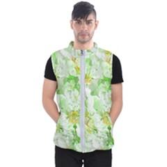 Light Floral Collage  Men s Puffer Vest
