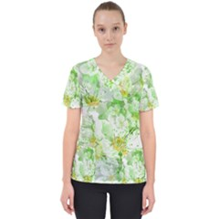 Light Floral Collage  Scrub Top