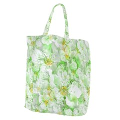 Light Floral Collage  Giant Grocery Zipper Tote