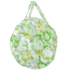 Light Floral Collage  Giant Round Zipper Tote