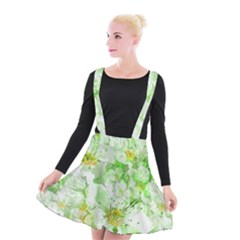 Light Floral Collage  Suspender Skater Skirt