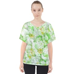 Light Floral Collage  V Neck Dolman Drape Top
