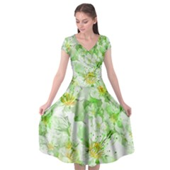 Light Floral Collage  Cap Sleeve Wrap Front Dress