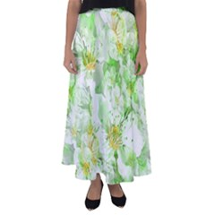 Light Floral Collage  Flared Maxi Skirt