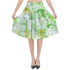 Light Floral Collage  Flared Midi Skirt