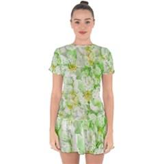 Light Floral Collage  Drop Hem Mini Chiffon Dress