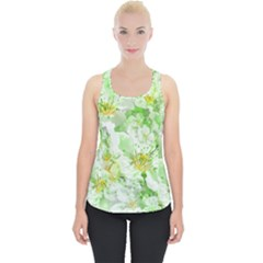 Light Floral Collage  Piece Up Tank Top